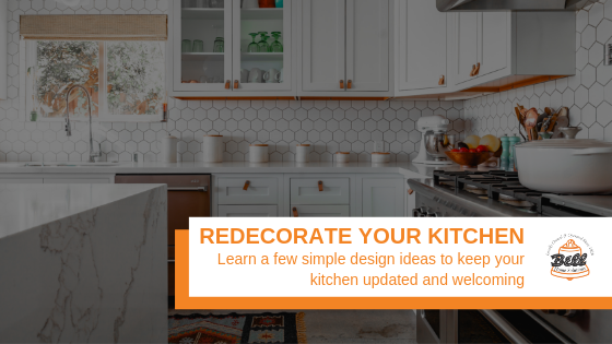 """Kitchen Redesign with Kitchen Island, with Bell logo and text that says, """"Redecorate Your Kitchen"""""""