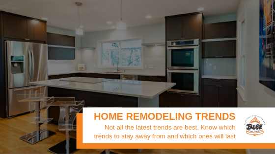 """Remodeled Kitchen, with Bell logo and text with, """"Home Remodeling Trends"""""""