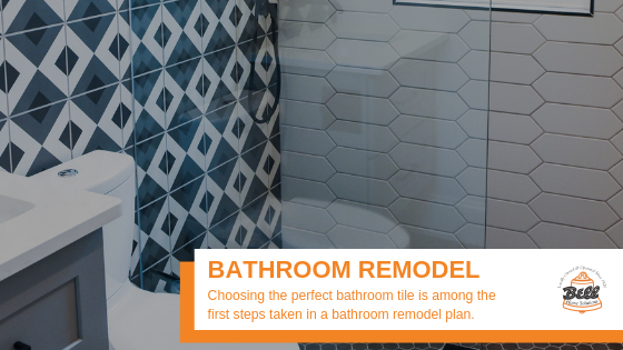 """Bathroom tile remodel, with Bell logo and says, """"Bathroom Remodel"""""""