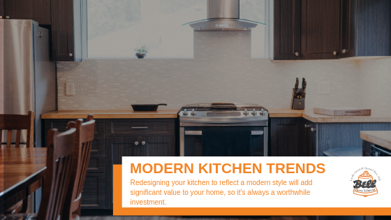"""A picture of a modern kitchen with text that says, """"Modern Kitchen Trends"""""""